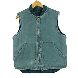VTG J. Crew 90's Green Full Zip Patch Pocket Vest
